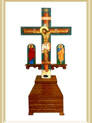 Răstignire - Cruci cu postament lemn